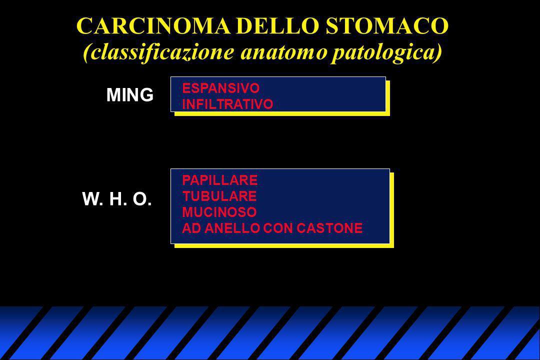 CARCINOMA DELLO STOMACO (classificazione anatomo patologica) MING ESPANSIVO INFILTRATIVO W. H. O. PAPILLARE TUBULARE MUCINOSO AD ANELLO CON CASTONE