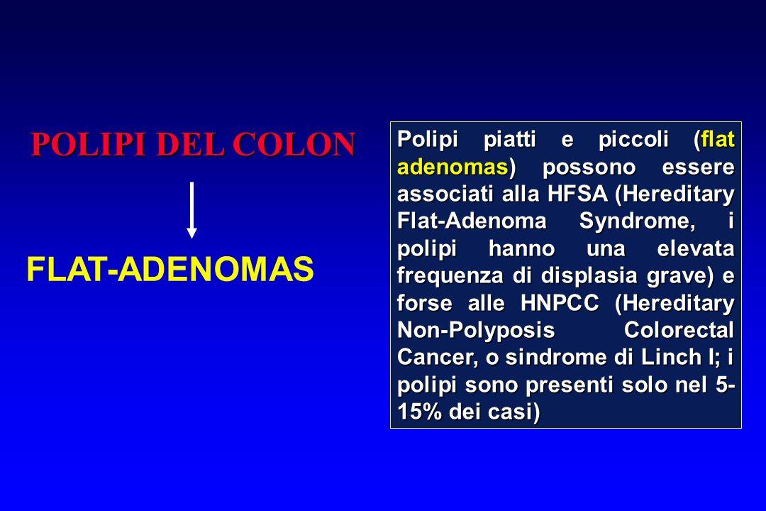 POLIPI DEL COLON FLAT-ADENOMAS Polipi piatti e piccoli (flat adenomas) possono essere associati alla HFSA (Hereditary Flat-Adenoma Syndrome, i polipi