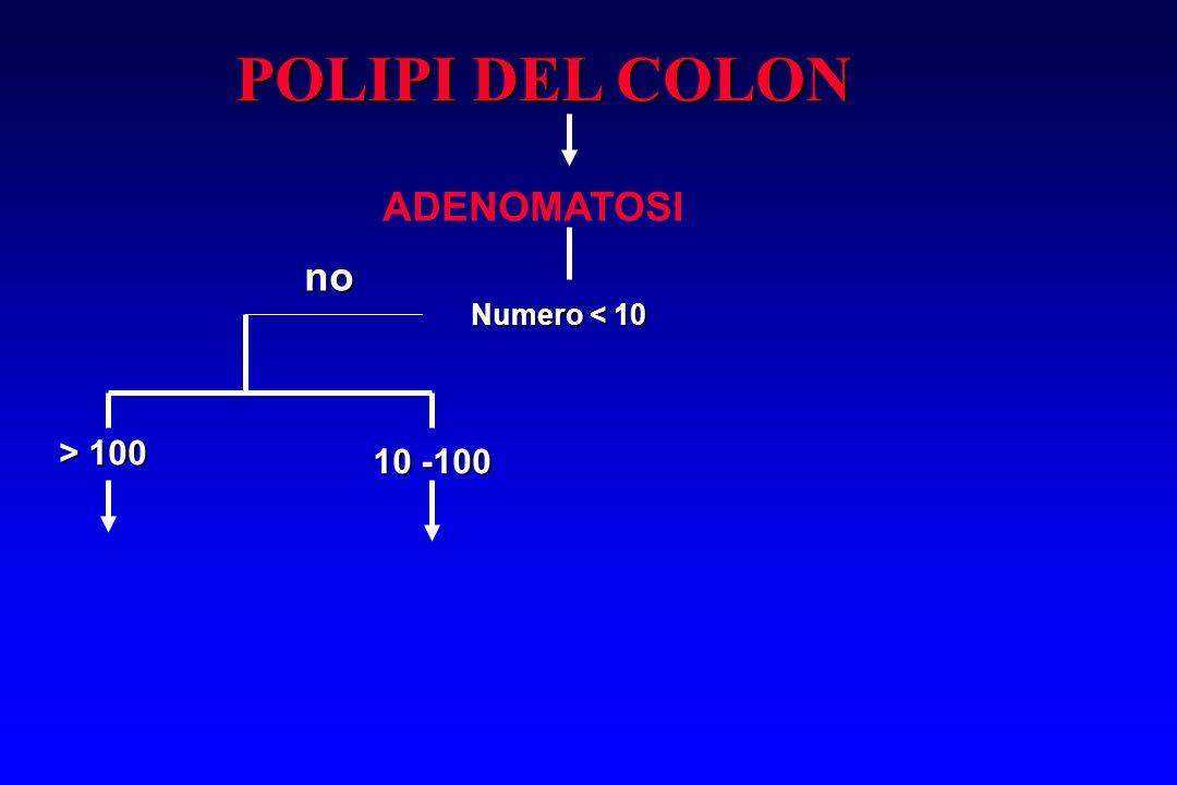 POLIPI DEL COLON ADENOMATOSI Numero < 10 no > 100 10 -100