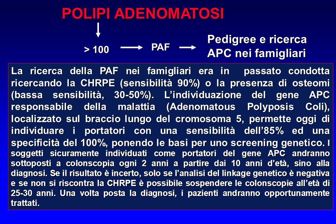 POLIPI ADENOMATOSI > 100 PAF Pedigree e ricerca APC nei famigliari La ricerca della PAF nei famigliari era in passato condotta ricercando la CHRPE (se