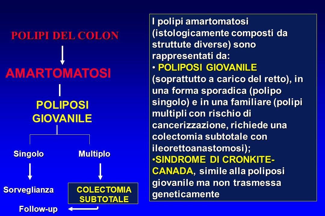 POLIPI DEL COLON AMARTOMATOSI POLIPOSI GIOVANILE SingoloMultiplo SorveglianzaCOLECTOMIASUBTOTALE Follow-up I polipi amartomatosi (istologicamente comp