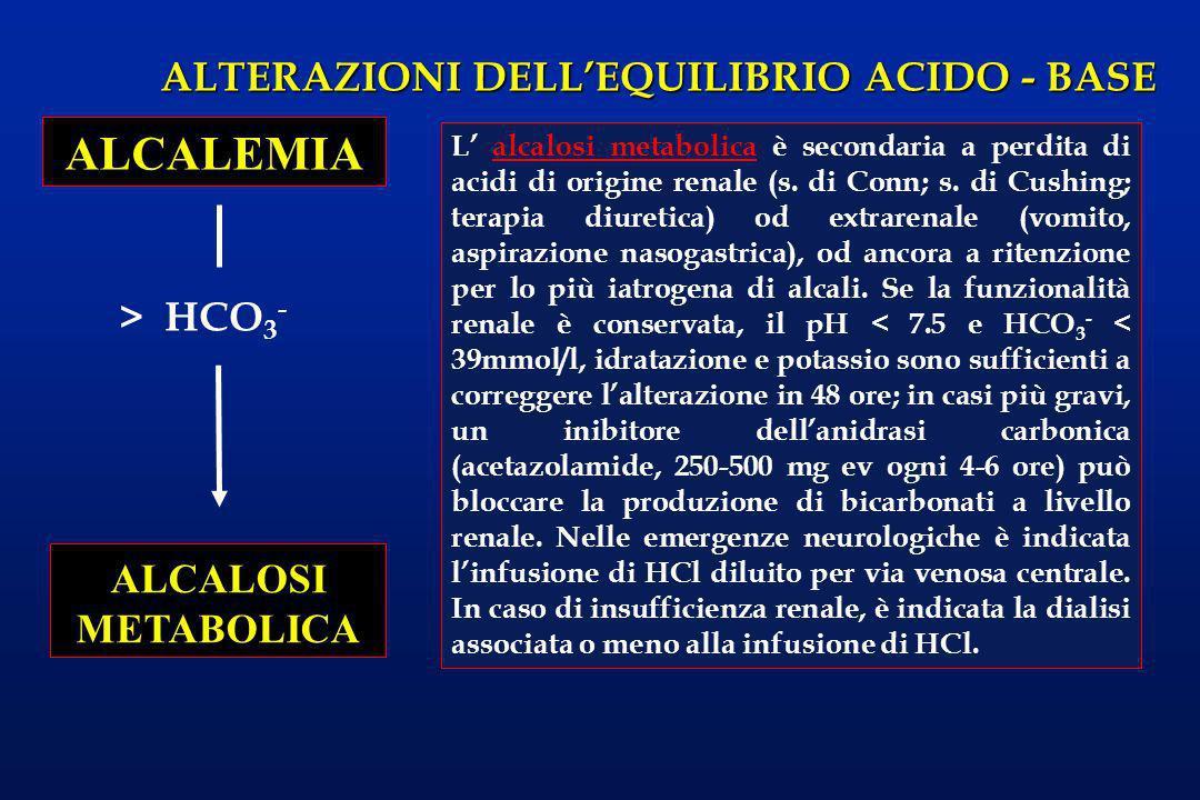 ALTERAZIONI DELLEQUILIBRIO ACIDO - BASE > HCO 3 - ALCALEMIA ALCALOSI METABOLICA L alcalosi metabolica è secondaria a perdita di acidi di origine renal