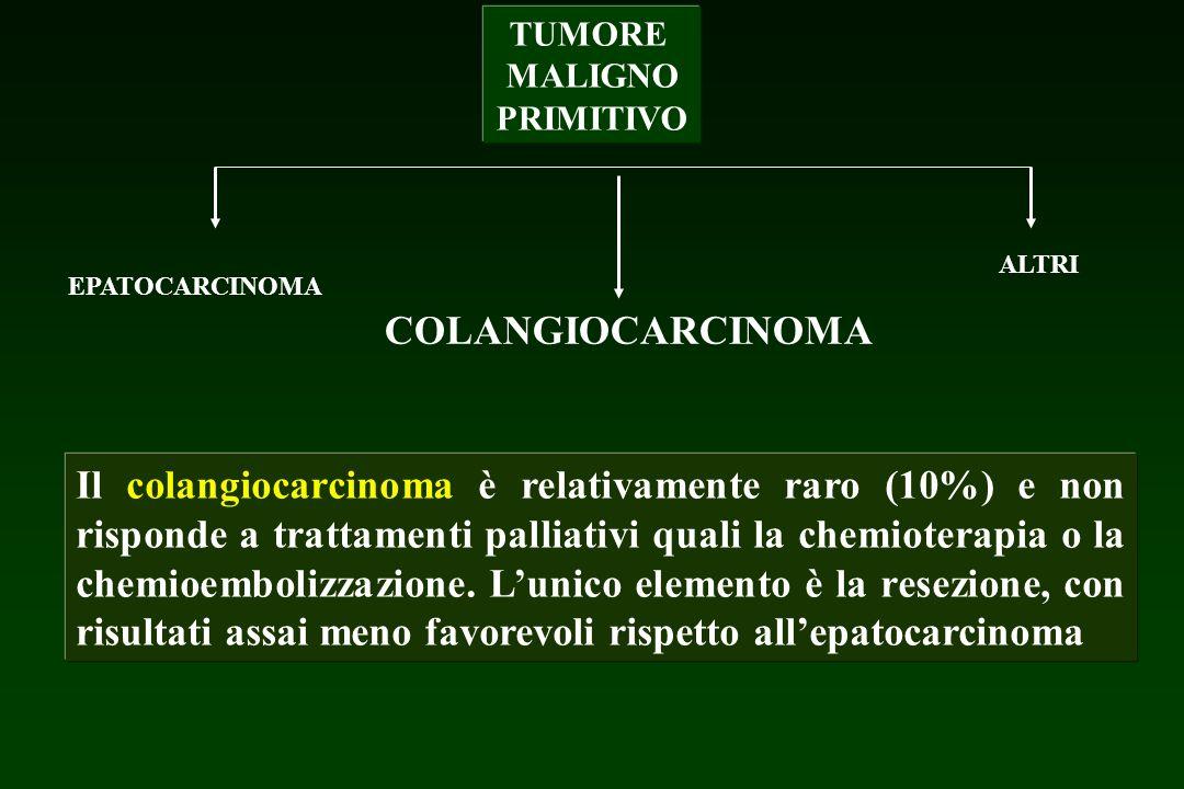 TUMORE MALIGNO PRIMITIVO EPATOCARCINOMA COLANGIOCARCINOMA ALTRI Il colangiocarcinoma è relativamente raro (10%) e non risponde a trattamenti palliativ