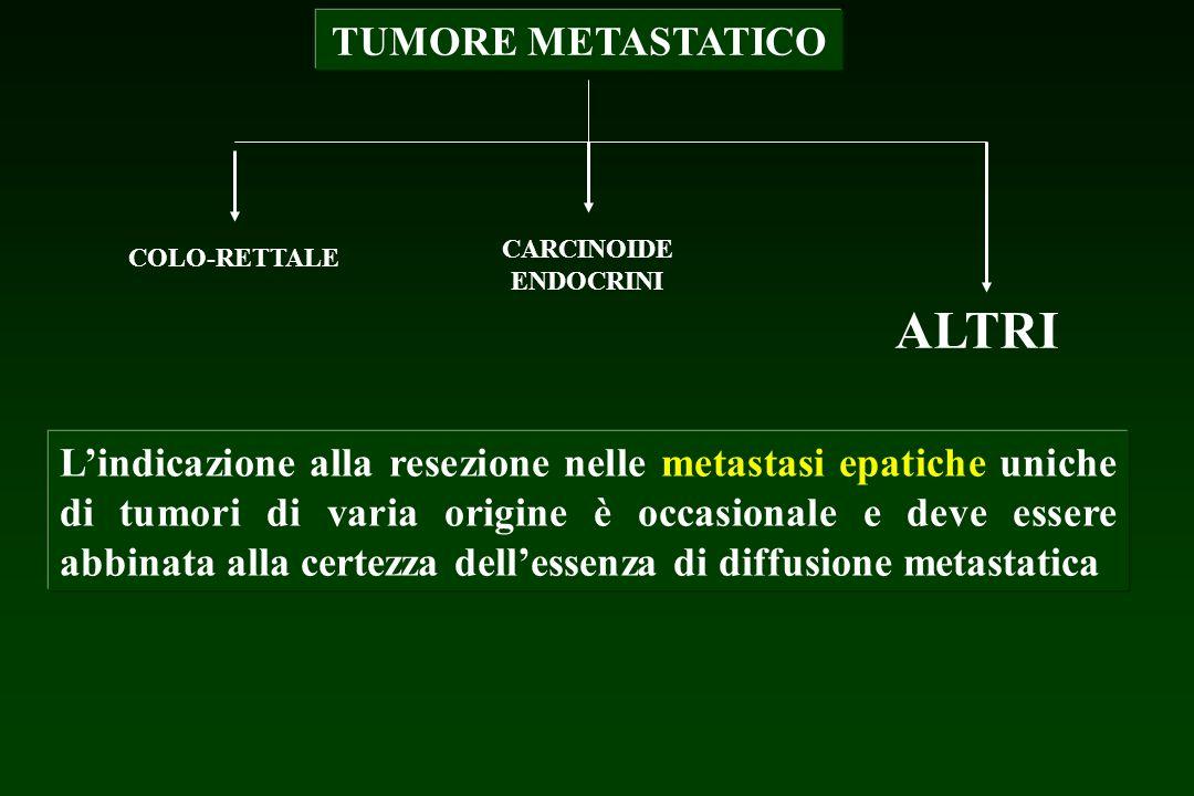TUMORE METASTATICO COLO-RETTALE CARCINOIDE ENDOCRINI ALTRI Lindicazione alla resezione nelle metastasi epatiche uniche di tumori di varia origine è oc