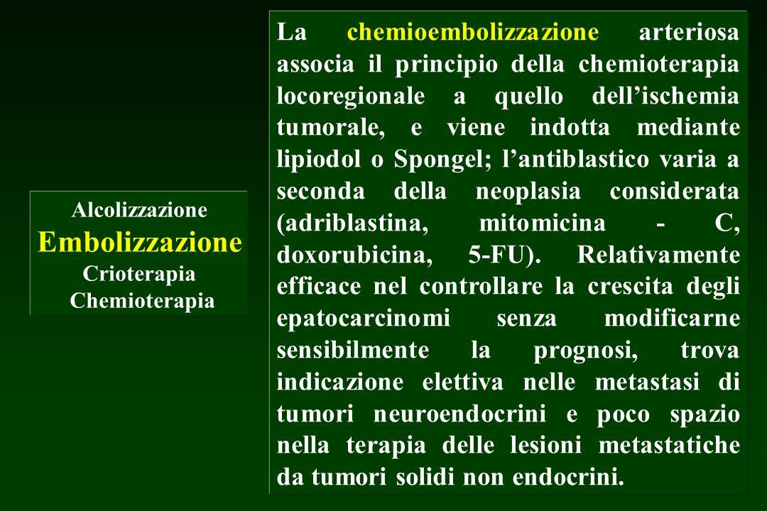 Alcolizzazione Embolizzazione Crioterapia Chemioterapia La chemioembolizzazione arteriosa associa il principio della chemioterapia locoregionale a que