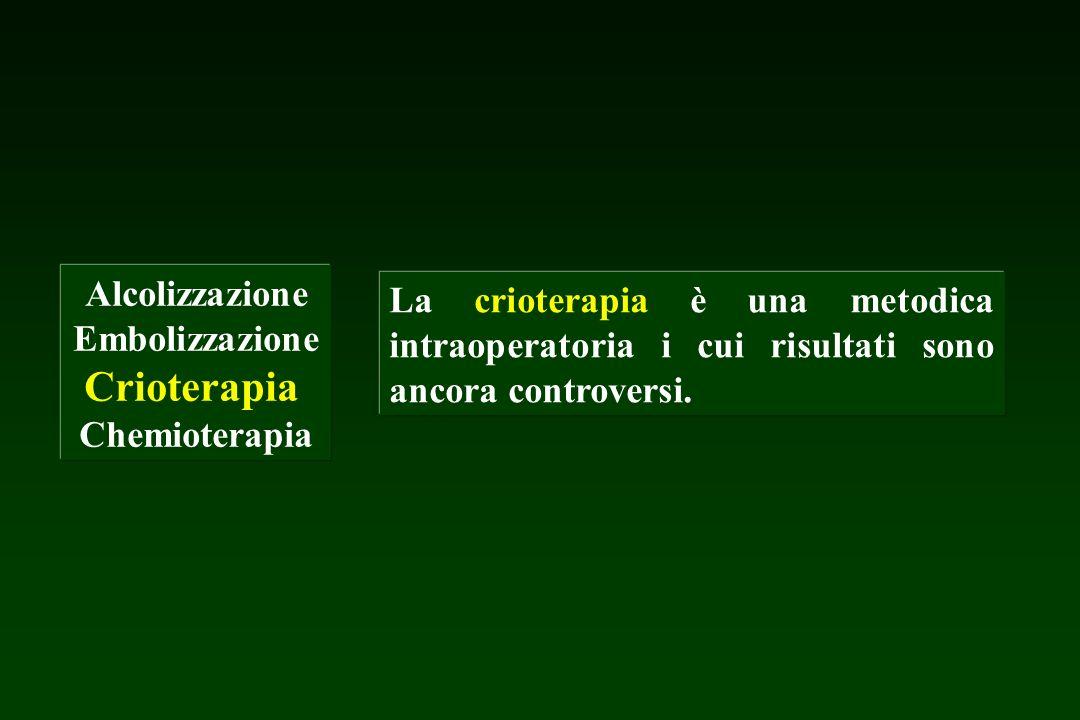 Alcolizzazione Embolizzazione Crioterapia Chemioterapia La crioterapia è una metodica intraoperatoria i cui risultati sono ancora controversi.