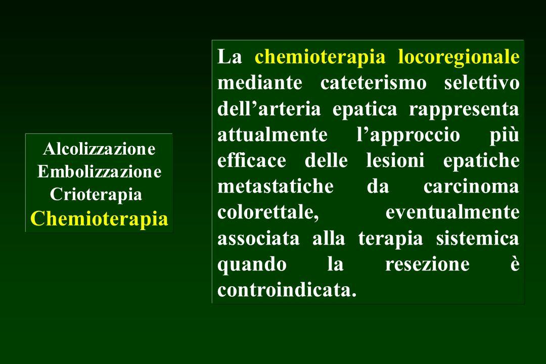 Alcolizzazione Embolizzazione Crioterapia Chemioterapia La chemioterapia locoregionale mediante cateterismo selettivo dellarteria epatica rappresenta