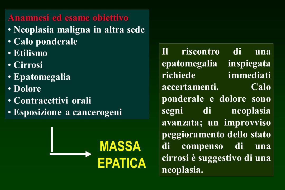 MASSA EPATICA Anamnesi ed esame obiettivo Neoplasia maligna in altra sede Calo ponderale Etilismo Cirrosi Epatomegalia Dolore Contracettivi orali Espo