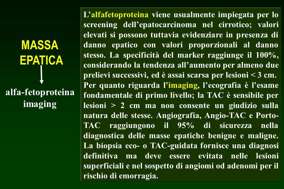 MASSA EPATICA alfa-fetoproteina imaging TUMORE BENIGNOTUMORE MALIGNO PRIMITIVO TUMORE METASTATICO