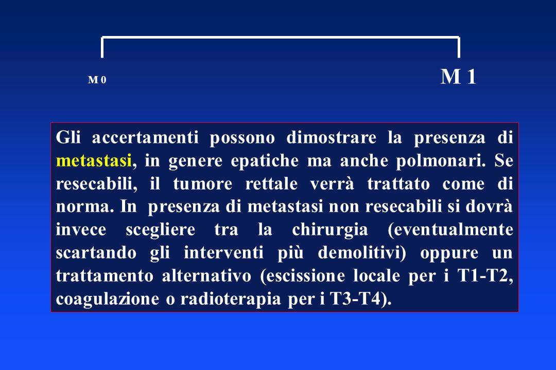 M 0 M 1 Gli accertamenti possono dimostrare la presenza di metastasi, in genere epatiche ma anche polmonari. Se resecabili, il tumore rettale verrà tr