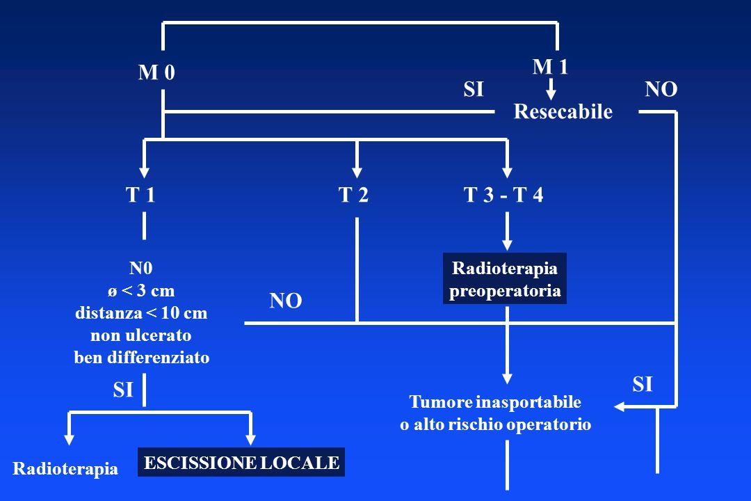 M 0 M 1 Resecabile SINO T 1T 2T 3 - T 4 N0 ø < 3 cm distanza < 10 cm non ulcerato ben differenziato SI Radioterapia ESCISSIONE LOCALE Radioterapia pre