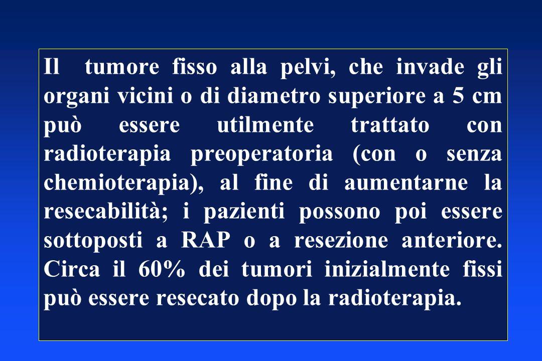 Il tumore fisso alla pelvi, che invade gli organi vicini o di diametro superiore a 5 cm può essere utilmente trattato con radioterapia preoperatoria (
