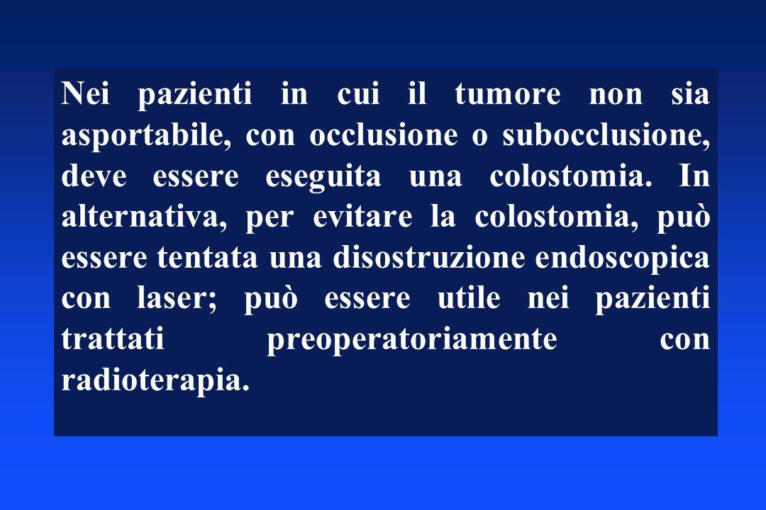 Nei pazienti in cui il tumore non sia asportabile, con occlusione o subocclusione, deve essere eseguita una colostomia. In alternativa, per evitare la