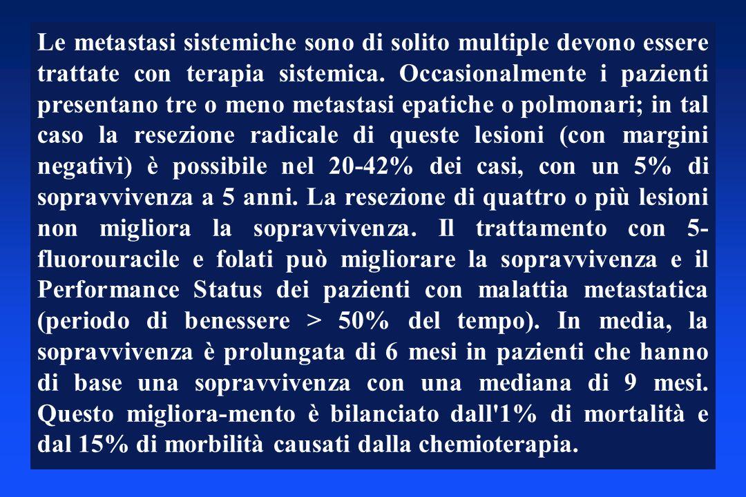 Le metastasi sistemiche sono di solito multiple devono essere trattate con terapia sistemica. Occasionalmente i pazienti presentano tre o meno metasta