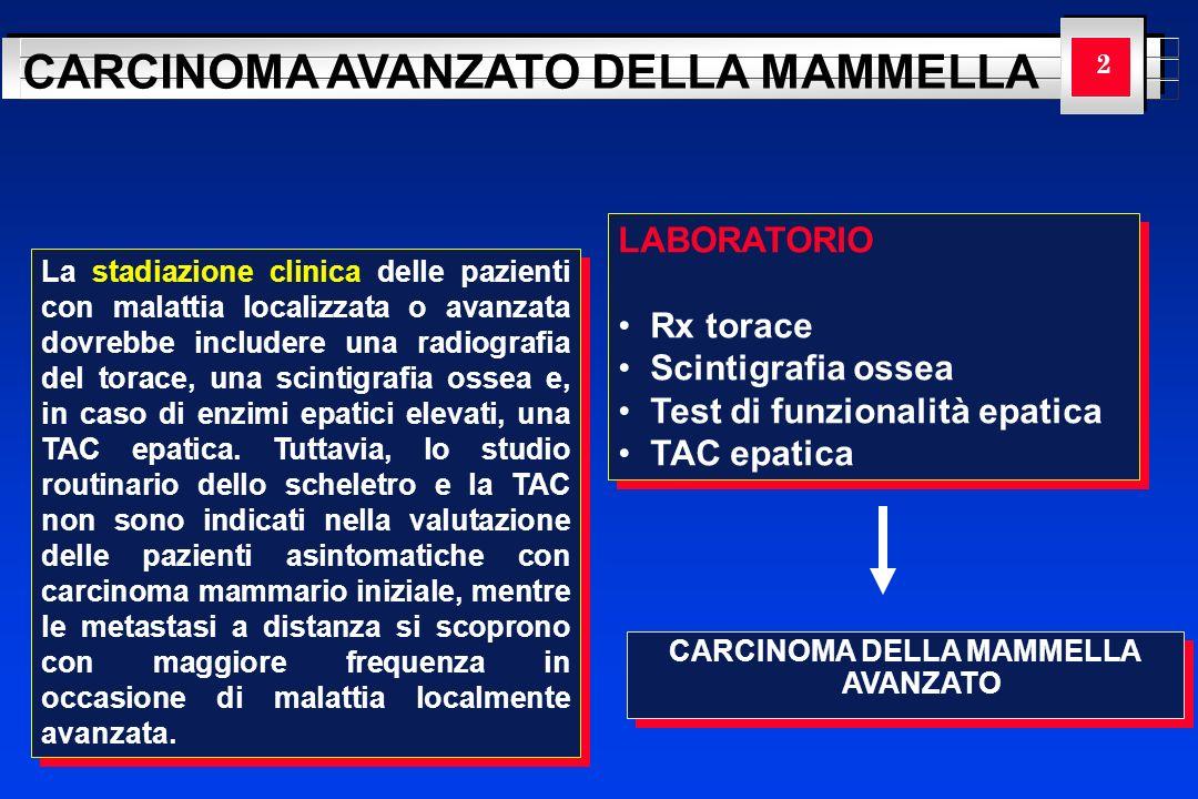 YOUR LOGO HERE CARCINOMA AVANZATO DELLA MAMMELLA 23 IV (ogni T, ogni N, M) RECETTORI ORMONALI POSITIVI PremenopausaPostmenopausa Ablazione ovarica Tamoxifene ± chemioterapia ResponsivoNon responsivo Ripetere il trattamento ormonale Chemioterapia Lablazione ovarica o la soppressione mediante antagonisti dellormone rilasciante le gonadotropine è la terapia di prima scelta in questo gruppo di pazienti.