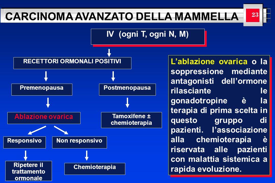 YOUR LOGO HERE CARCINOMA AVANZATO DELLA MAMMELLA 23 IV (ogni T, ogni N, M) RECETTORI ORMONALI POSITIVI PremenopausaPostmenopausa Ablazione ovarica Tam