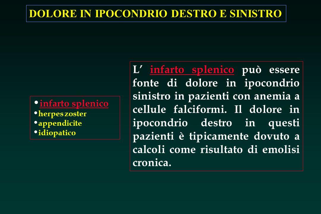 DOLORE IN IPOCONDRIO DESTRO E SINISTRO infarto splenico herpes zoster appendicite idiopatico L infarto splenico può essere fonte di dolore in ipocondr