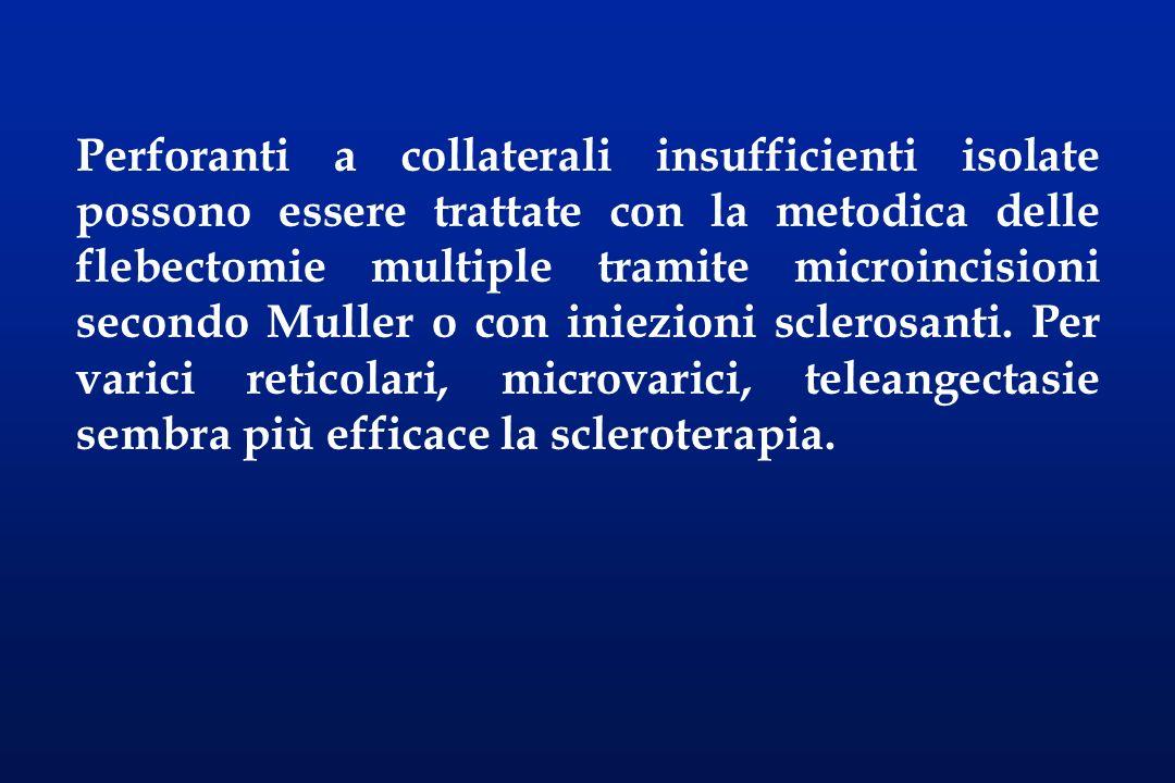 Perforanti a collaterali insufficienti isolate possono essere trattate con la metodica delle flebectomie multiple tramite microincisioni secondo Mulle