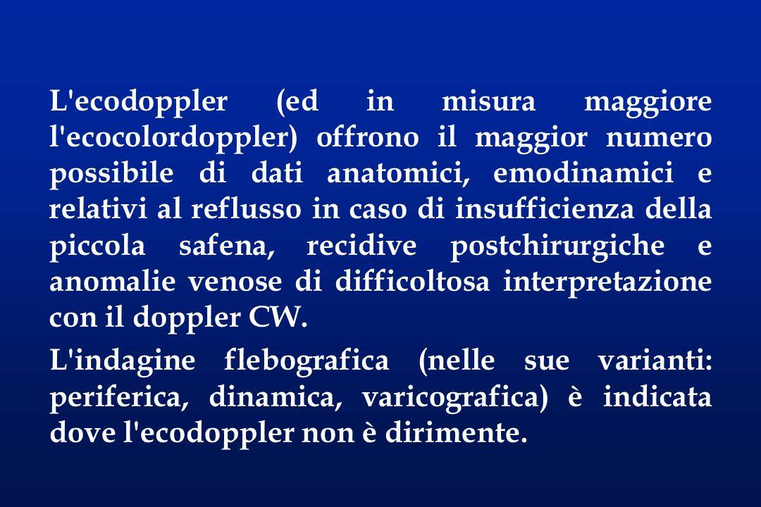 L'ecodoppler (ed in misura maggiore l'ecocolordoppler) offrono il maggior numero possibile di dati anatomici, emodinamici e relativi al reflusso in ca