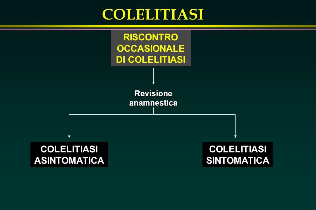 COLELITIASI La diagnosi di colelitiasi potrà essere posta durante esami eseguiti per altri motivi; questa patologia è presente nel 10 - 15 % della popolazione adulta RISCONTRO OCCASIONALE DI COLELITIASI