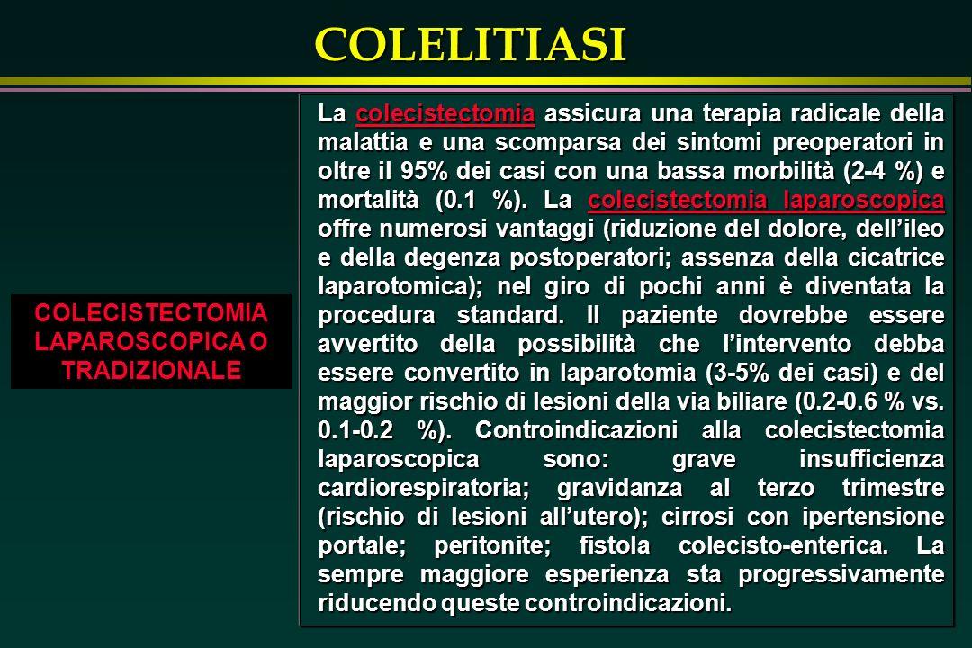 COLELITIASI COLECISTECTOMIA LAPAROSCOPICA O TRADIZIONALE La colecistectomia assicura una terapia radicale della malattia e una scomparsa dei sintomi preoperatori in oltre il 95% dei casi con una bassa morbilità (2-4 %) e mortalità (0.1 %).