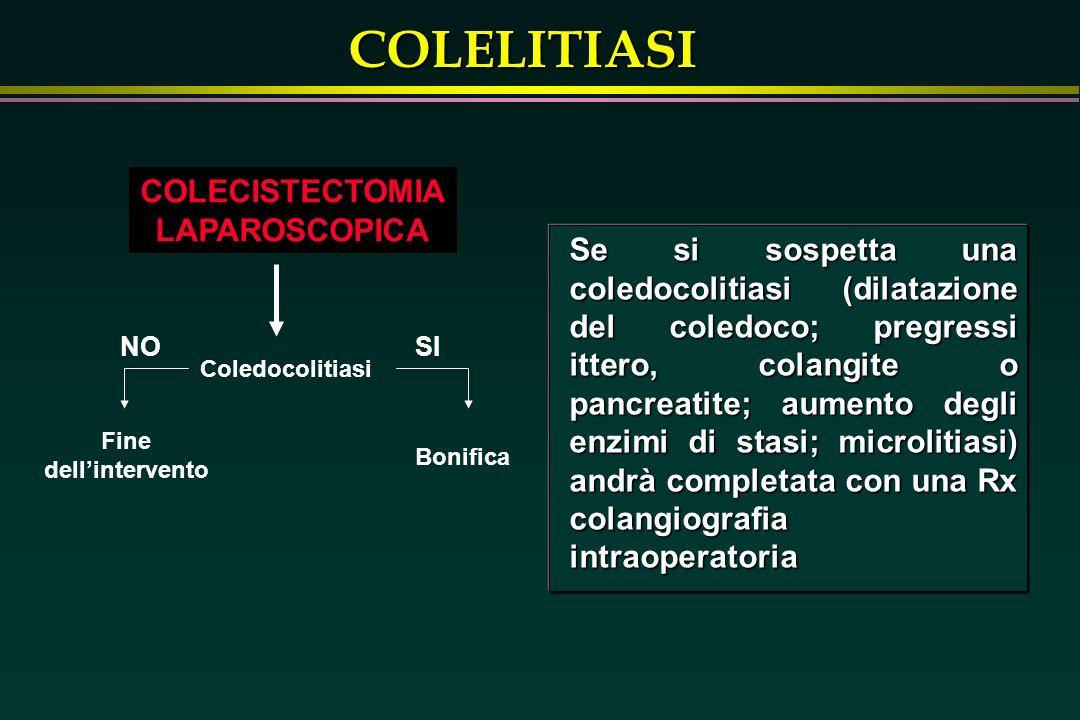 COLELITIASI COLECISTECTOMIA LAPAROSCOPICA Se si sospetta una coledocolitiasi (dilatazione del coledoco; pregressi ittero, colangite o pancreatite; aum
