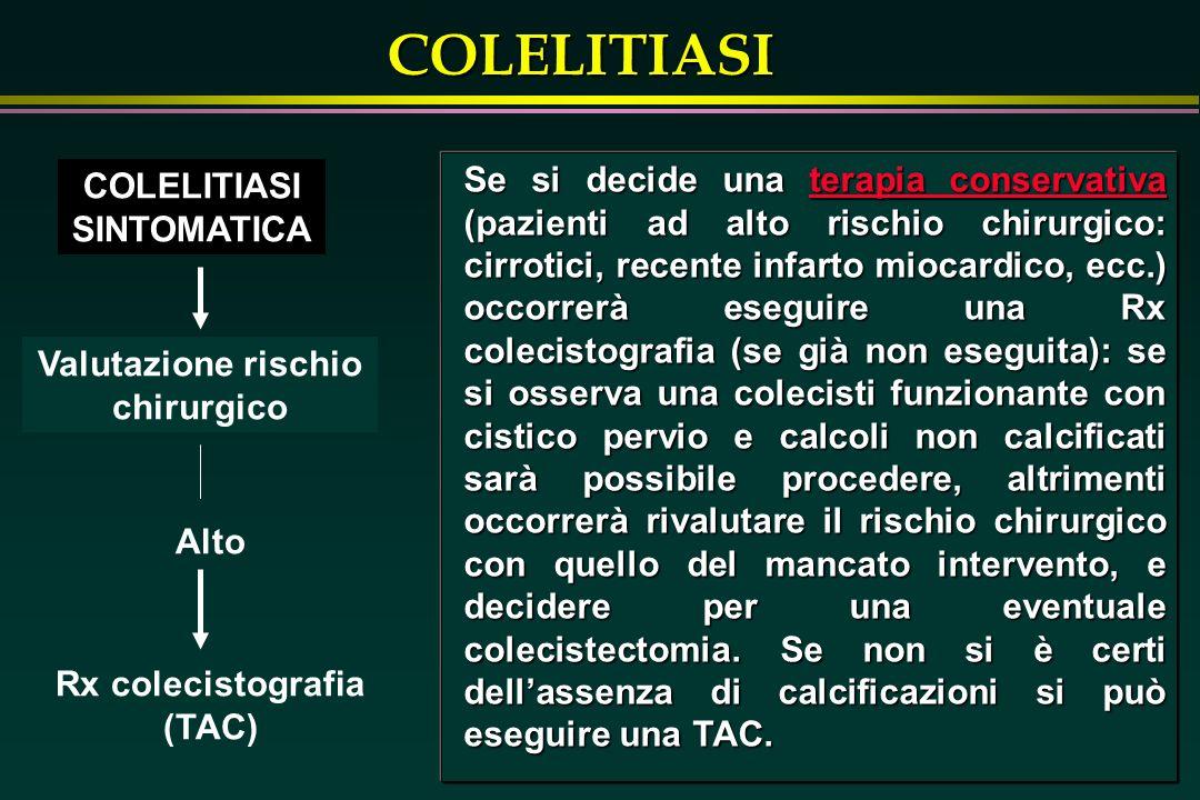 COLELITIASI Valutazione rischio chirurgico COLELITIASI SINTOMATICA Alto Rx colecistografia (TAC) Se si decide una terapia conservativa (pazienti ad al