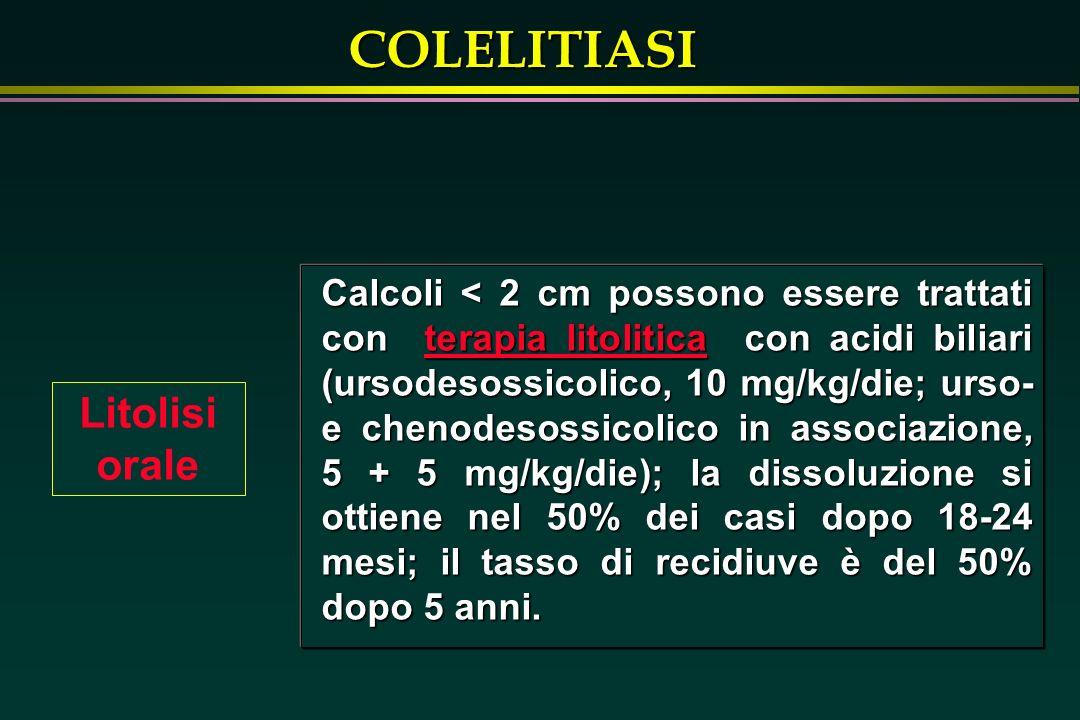 COLELITIASI Litolisi orale Calcoli < 2 cm possono essere trattati con terapia litolitica con acidi biliari (ursodesossicolico, 10 mg/kg/die; urso- e c