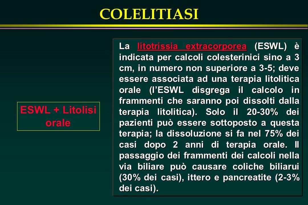 COLELITIASI ESWL + Litolisi orale La litotrissia extracorporea (ESWL) è indicata per calcoli colesterinici sino a 3 cm, in numero non superiore a 3-5;