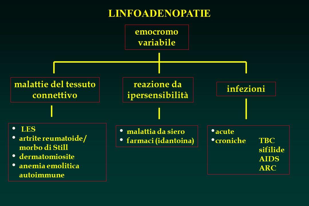 LINFOADENOPATIE emocromo variabile malattie del tessuto connettivo reazione da ipersensibilità infezioni LES artrite reumatoide / morbo di Still derma