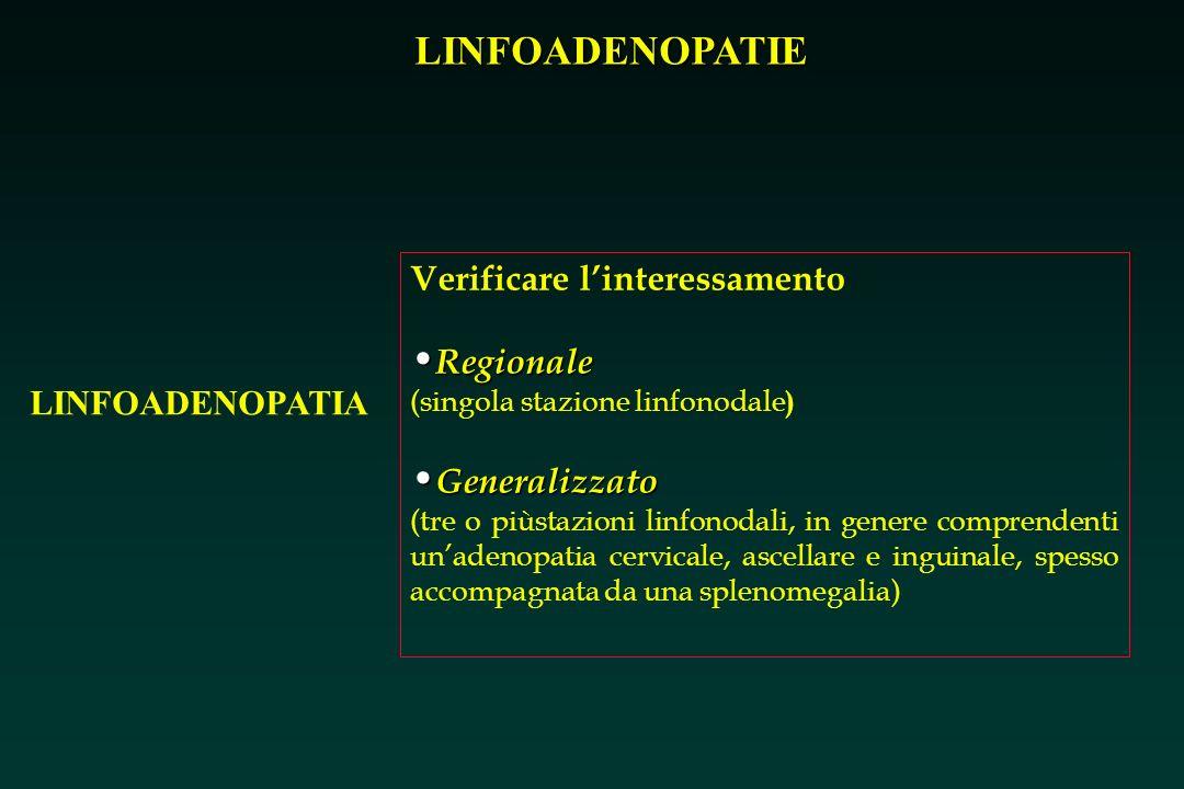 LINFOADENOPATIE LINFOADENOPATIA Verificare linteressamento Regionale Regionale (singola stazione linfonodale ) Generalizzato Generalizzato (tre o piùs