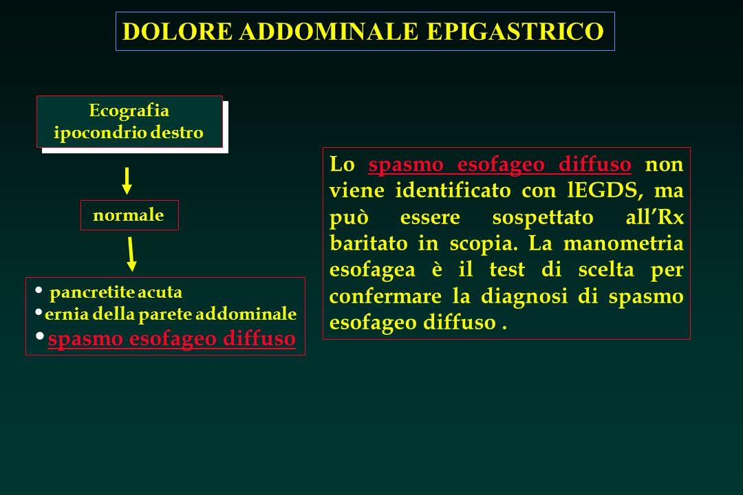 DOLORE ADDOMINALE EPIGASTRICO Ecografia ipocondrio destro normale pancretite acuta ernia della parete addominale spasmo esofageo diffuso Lo spasmo eso
