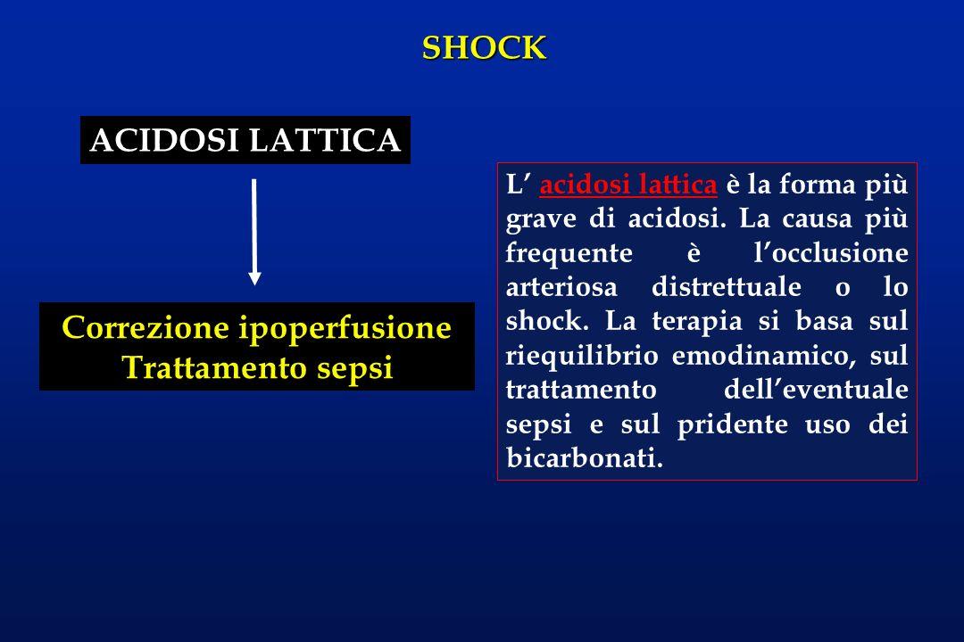 SHOCK ACIDOSI LATTICA Correzione ipoperfusione Trattamento sepsi L acidosi lattica è la forma più grave di acidosi. La causa più frequente è locclusio