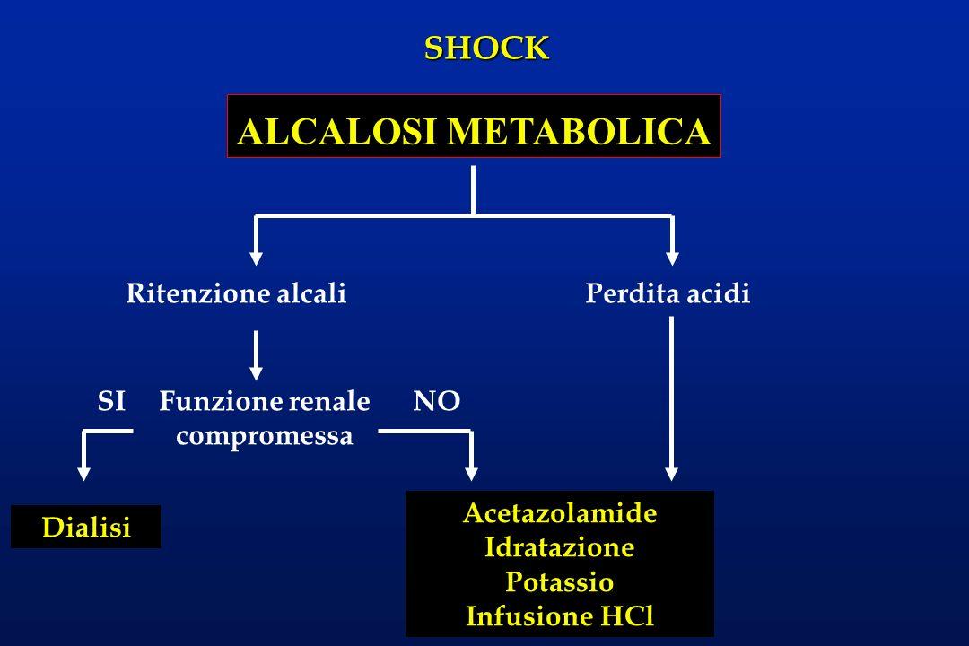 SHOCK ALCALOSI METABOLICA Ritenzione alcaliPerdita acidi Funzione renale compromessa SINO Dialisi Acetazolamide Idratazione Potassio Infusione HCl
