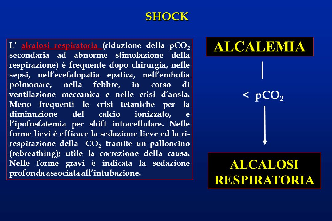 SHOCK ALCALEMIA ALCALOSI RESPIRATORIA < pCO 2 L alcalosi respiratoria (riduzione della pCO 2 secondaria ad abnorme stimolazione della respirazione) è