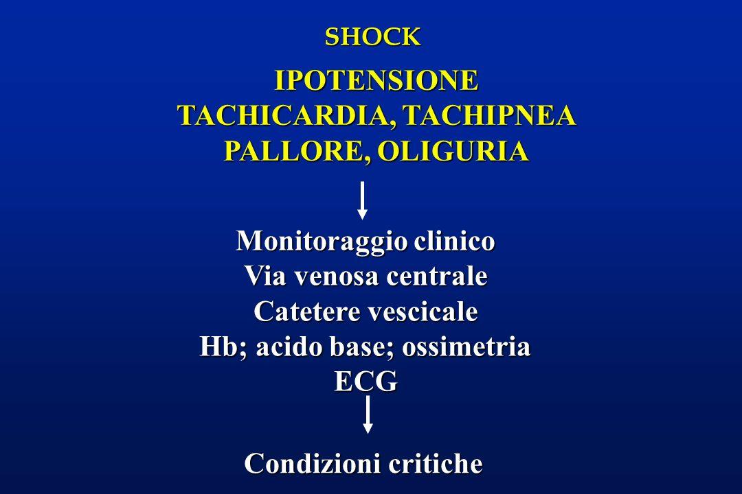 SHOCK Monitoraggio clinico Via venosa centrale Catetere vescicale Hb; acido base; ossimetria ECG Condizioni critiche