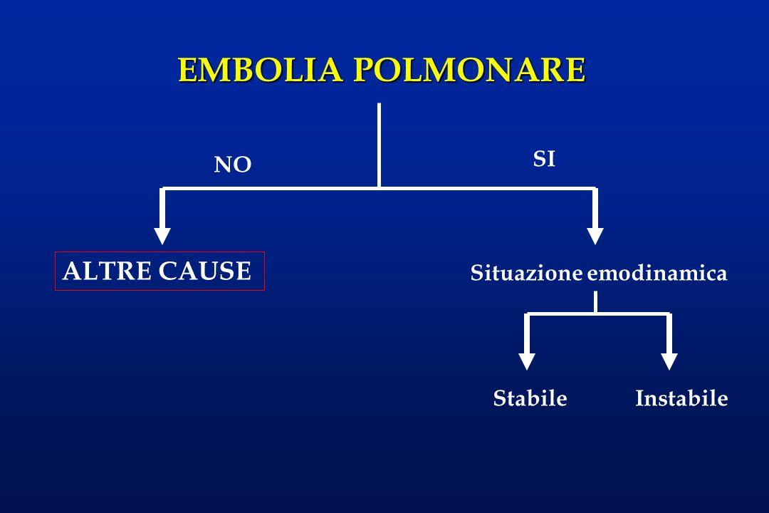 Le diagnosi differenziali più frequenti sono: l l infarto miocardico, l il pneumotorace, l l aneurisma dissecante dell aorta, l la polmonite.
