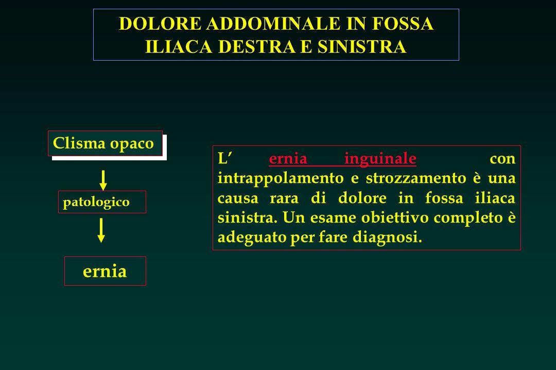 DOLORE ADDOMINALE IN FOSSA ILIACA DESTRA E SINISTRA ernia Clisma opaco patologico L ernia inguinale con intrappolamento e strozzamento è una causa rar