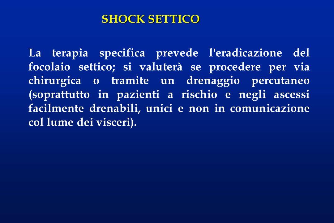 SHOCK SETTICO La terapia specifica prevede l'eradicazione del focolaio settico; si valuterà se procedere per via chirurgica o tramite un drenaggio per