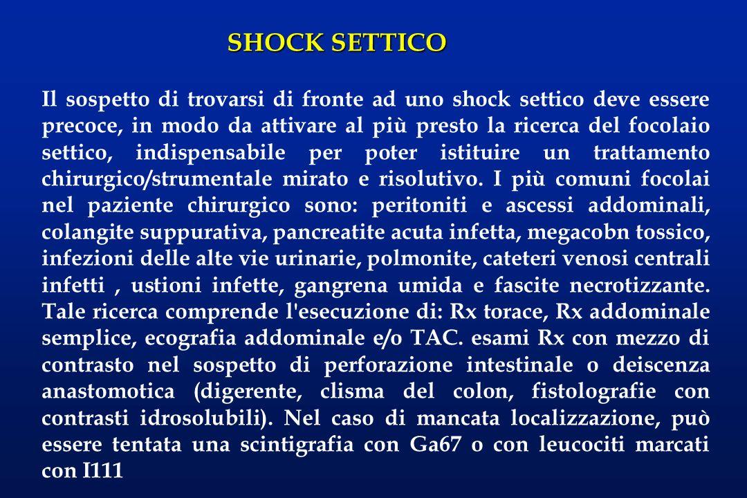 SHOCK SETTICO Il sospetto di trovarsi di fronte ad uno shock settico deve essere precoce, in modo da attivare al più presto la ricerca del focolaio se