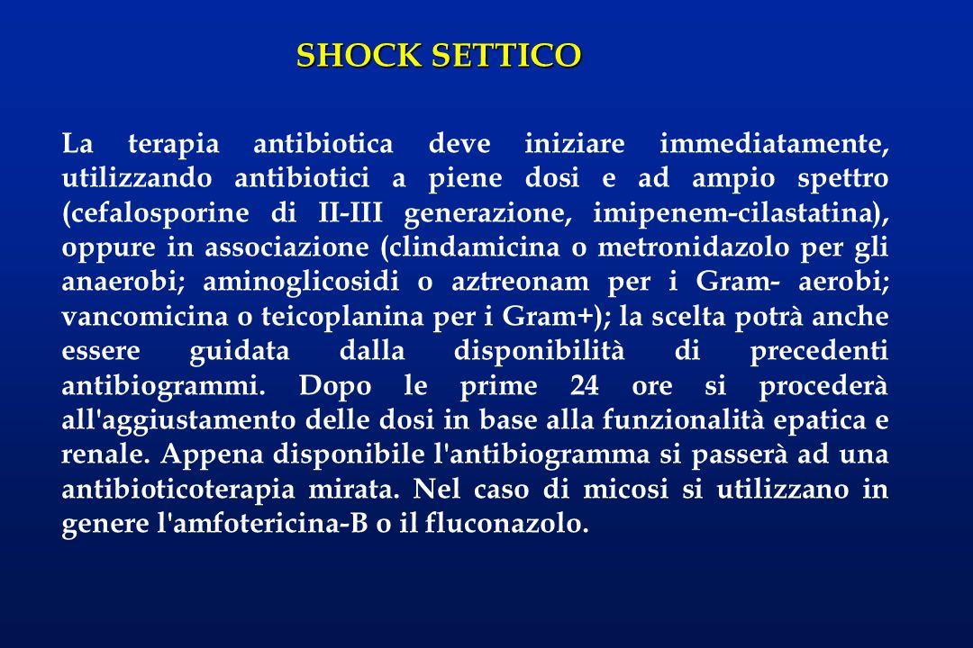 SHOCK SETTICO La terapia antibiotica deve iniziare immediatamente, utilizzando antibiotici a piene dosi e ad ampio spettro (cefalosporine di II-III ge