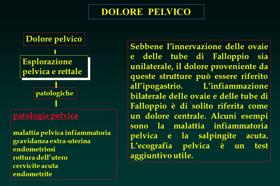 DOLORE PELVICO Esplorazione pelvica e rettale patologiche patologia pelvica malattia pelvica infiammatoria gravidanza extra-uterina endometriosi rottu