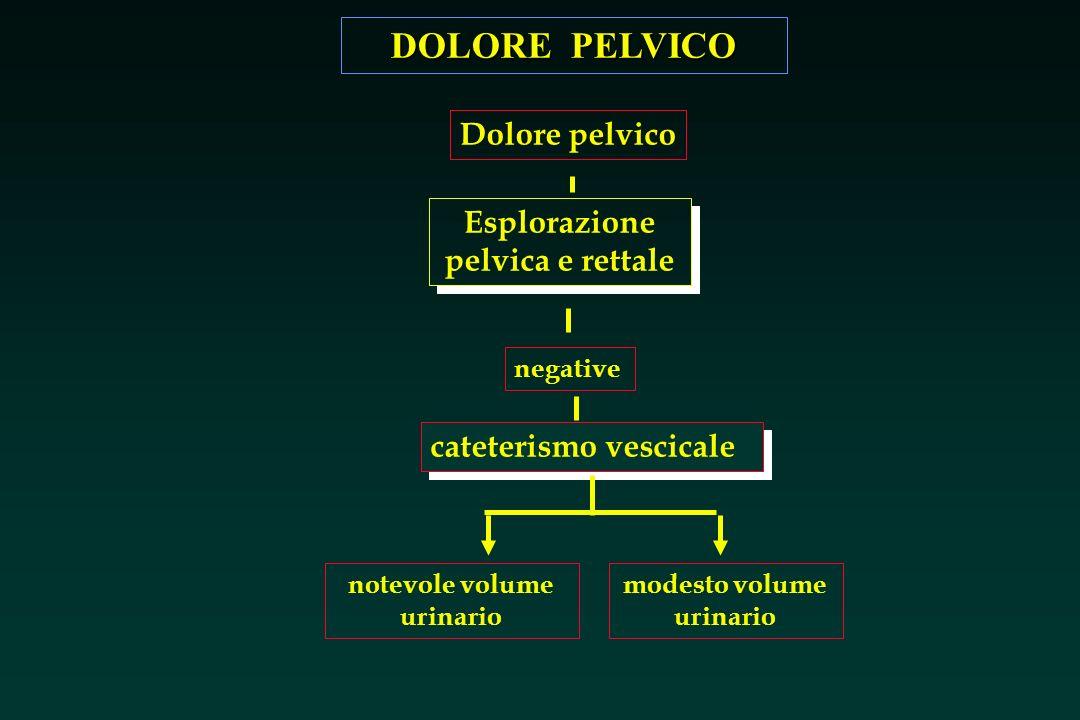 DOLORE PELVICO cateterismo vescicale notevole volume urinario modesto volume urinario Se alla percussione addominale, si sospetta il globo vescicale, il cateterismo sarà diagnostico e terapeutico.