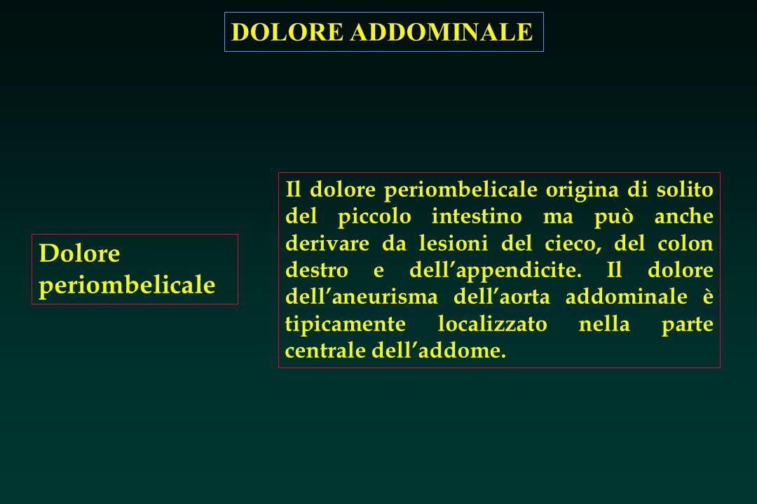DOLORE ADDOMINALE Dolore periombelicale Il dolore periombelicale origina di solito del piccolo intestino ma può anche derivare da lesioni del cieco, d