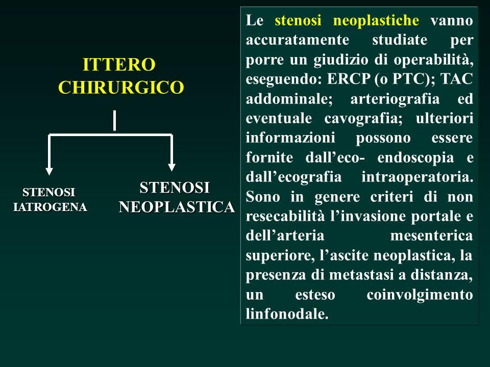ITTERO CHIRURGICO STENOSIIATROGENA STENOSINEOPLASTICA Le stenosi neoplastiche vanno accuratamente studiate per porre un giudizio di operabilità, esegu