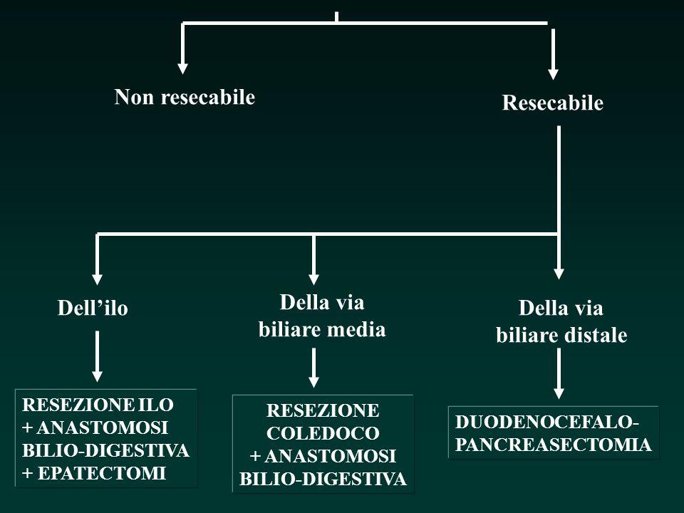 Non resecabile Resecabile Dellilo Della via biliare media Della via biliare distale RESEZIONE ILO + ANASTOMOSI BILIO-DIGESTIVA + EPATECTOMI RESEZIONE