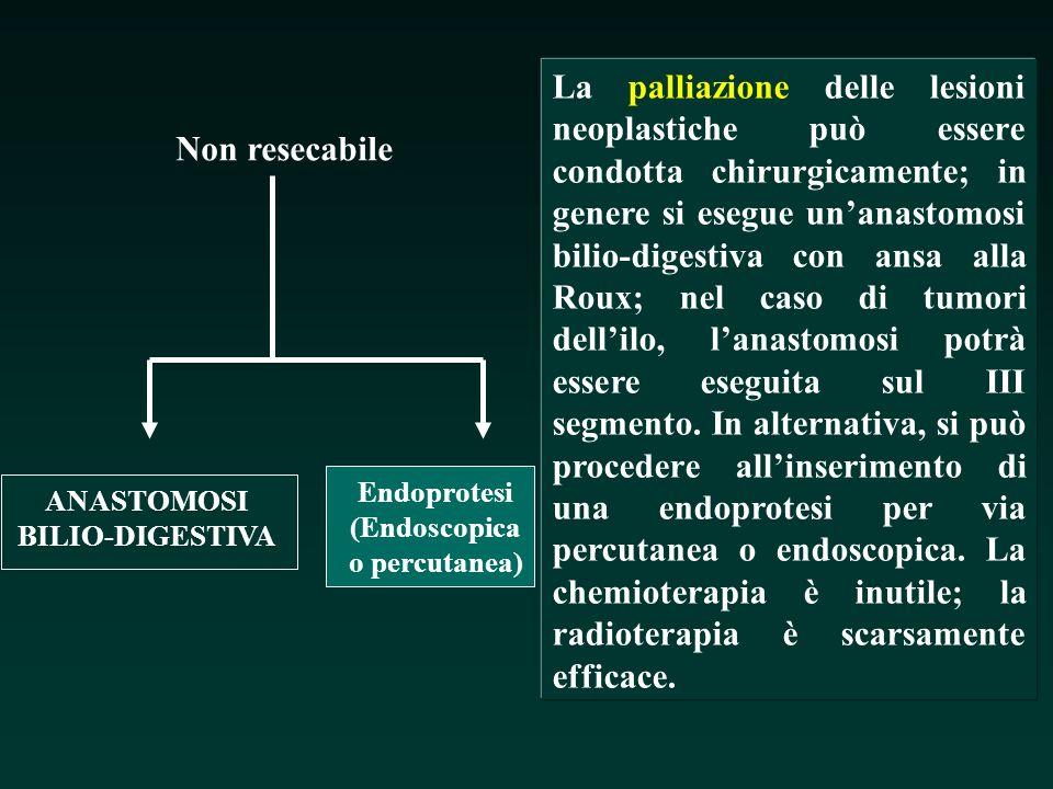 Non resecabile ANASTOMOSI BILIO-DIGESTIVA Endoprotesi (Endoscopica o percutanea) La palliazione delle lesioni neoplastiche può essere condotta chirurg