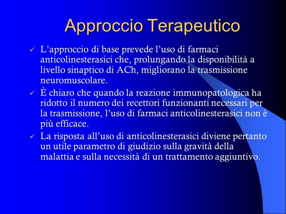 Approccio Terapeutico La strategia terapeutica della Miastenia si propone due obiettivi essenziali: migliorare la trasmissione neuromuscolare ridurre