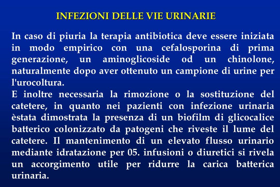 INFEZIONI DELLE VIE URINARIE Una volta che il patogeno viene identificato, nella maggior parte dei pazienti l urina diviene sterile con una terapia antibiotica mirata e un periodo relativamente breve di cateterizzazione vescicale postoperatoria.