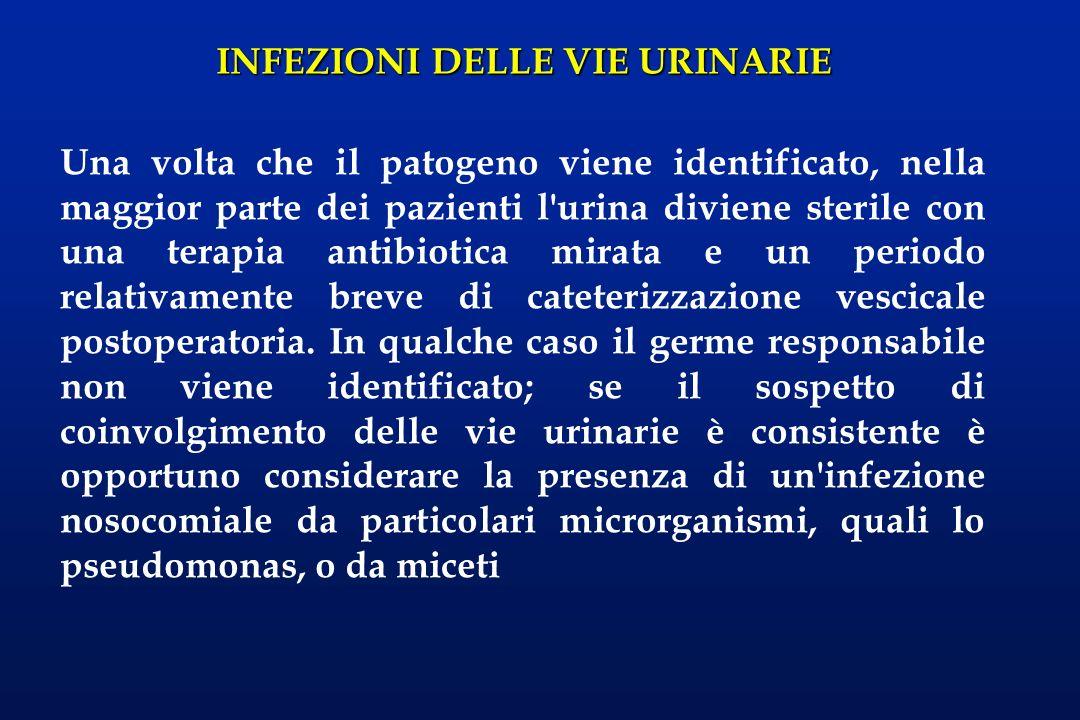 INFEZIONI DELLE VIE URINARIE Una infezione urinaria refrattaria alla terapia o che recidiva rapidamente dovrebbe rappresentare un segnale d allarme circa eventuali problemi meccanici, spesso ostruttivi, che possono promuovere l infezione.